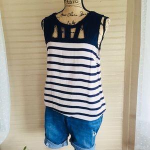 Kenar Striped Navy Blue Top Size L